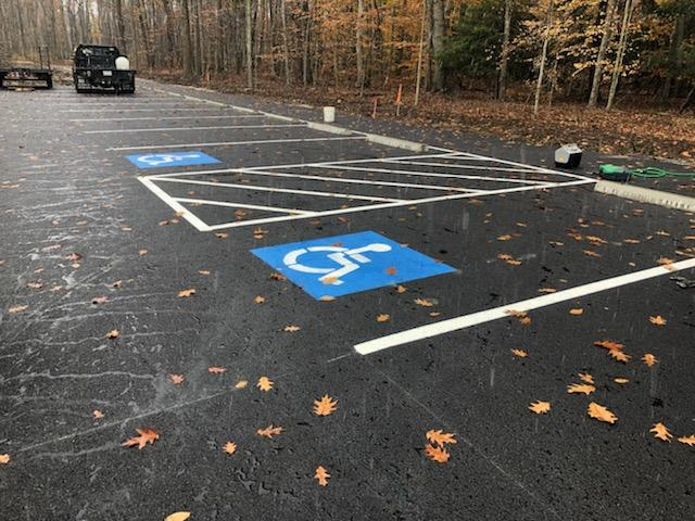 asphalt parking lot in fall